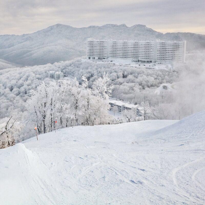 Snow at Sugar Mountain in North Carolina.