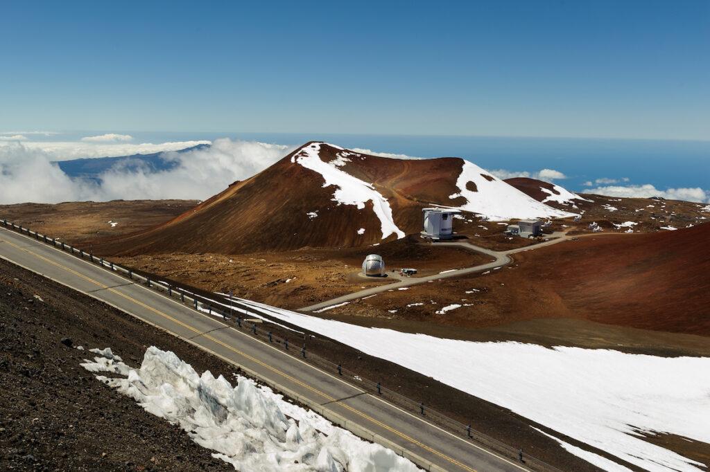 Snow at the summit of Mauna Kea in Hawaii.