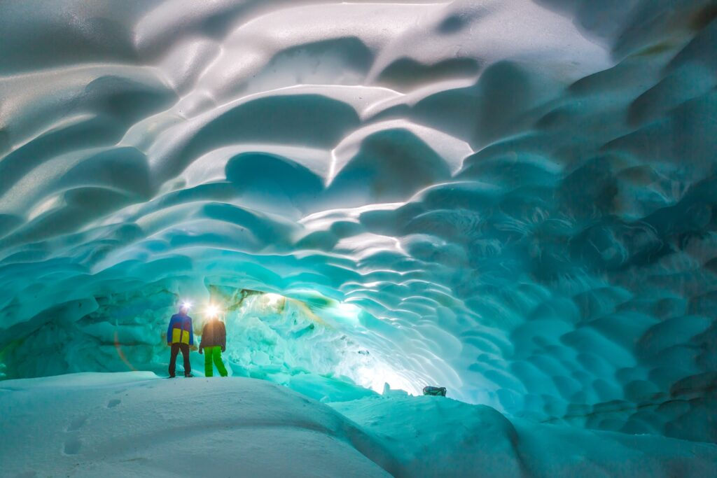 Snow cave on the Mutnovsky Volcano in Kamchatka, Russia.