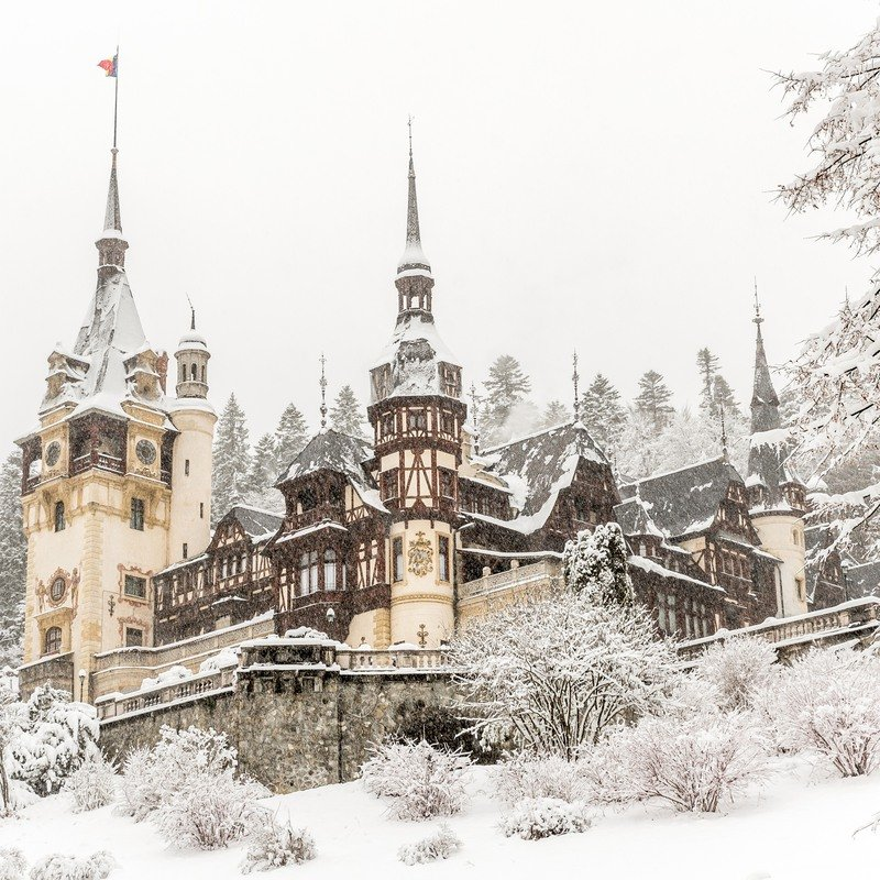 snow-covered castle in Bucharest, Romania