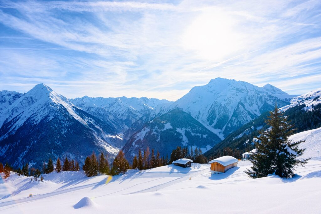 Snow in the mountains of Zillertal Valley.