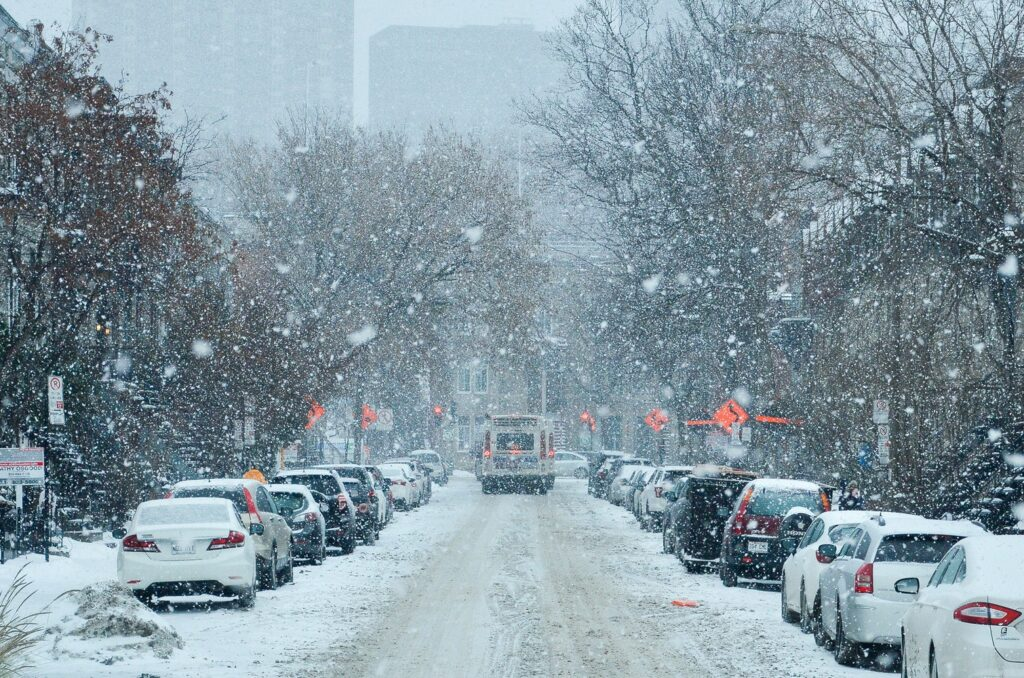 Snow on a residential street in Montreal.