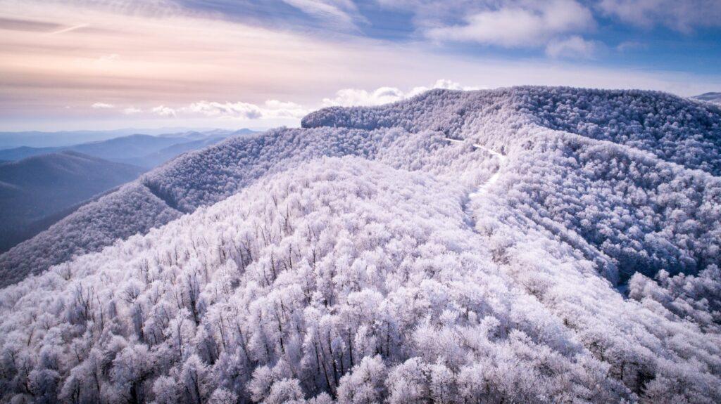 Snow on the Blue Ridge Mountains near Asheville.