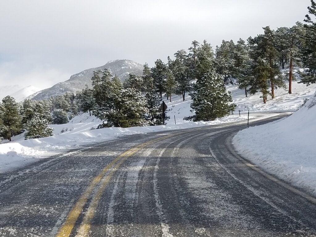 Snow on Trail Ridge Road in Estes Park.
