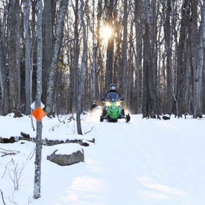 Snowmobiling at Potawatomi Park in Wisconsin.