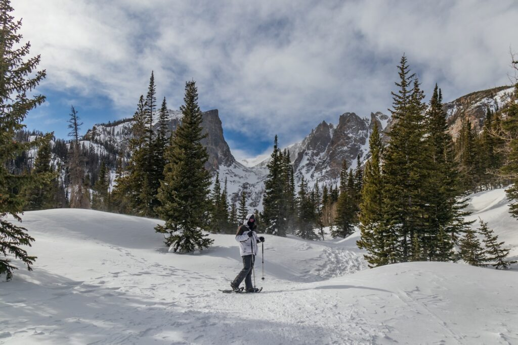 Snowshoeing in Rocky Mountain National Park.