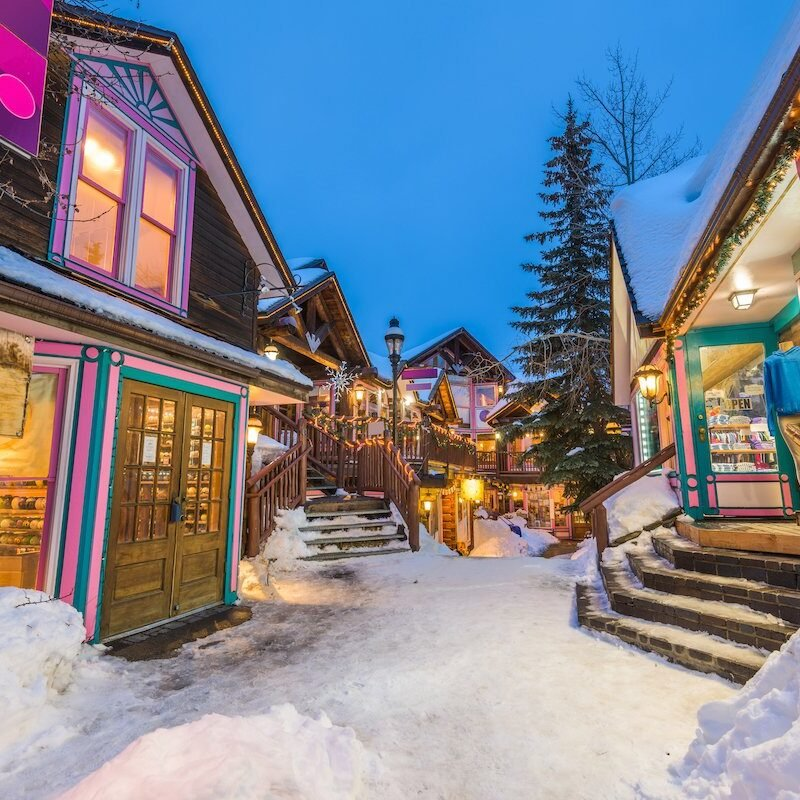 Snowy streets in Breckenridge, Colorado.