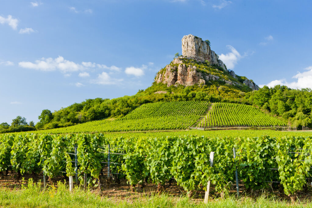Solutre Rock in the Burgundy wine region.