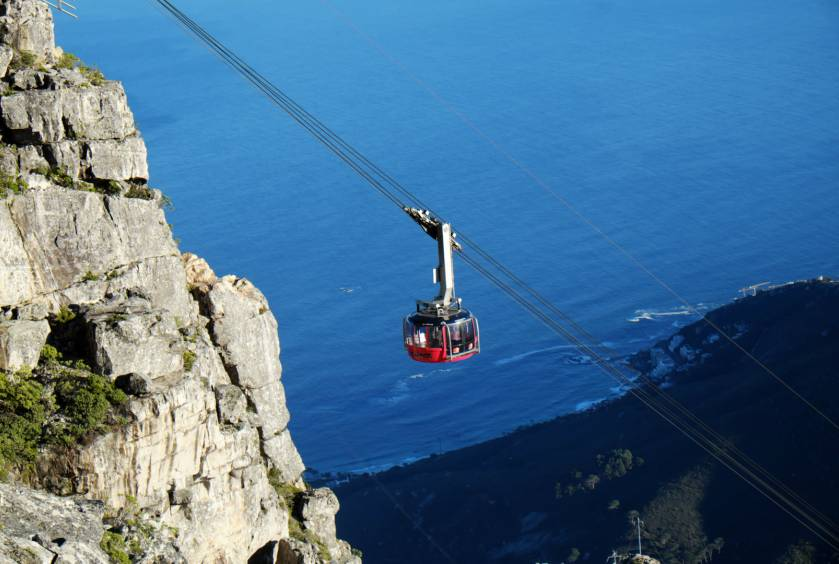 South Africa's aerial cableway headed to the top of Table Mountain