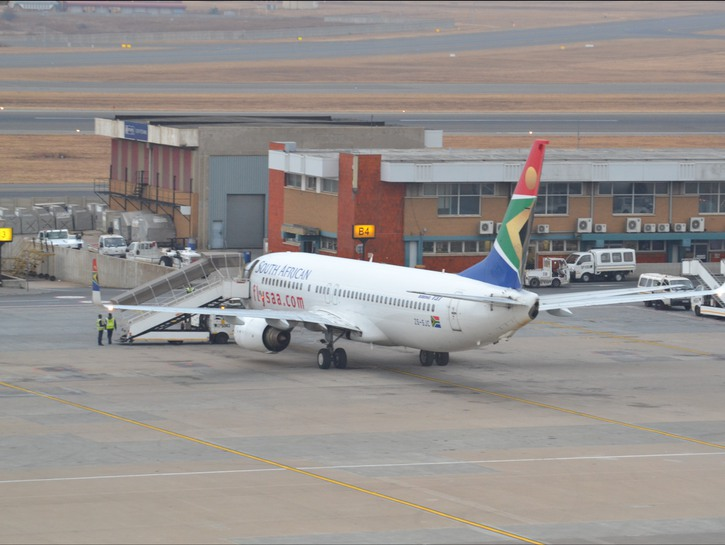 South African Airways plane on the tarmac.