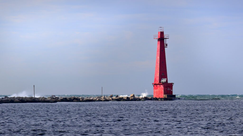 South Breakwater Lighthouse in Muskegon, Michigan.