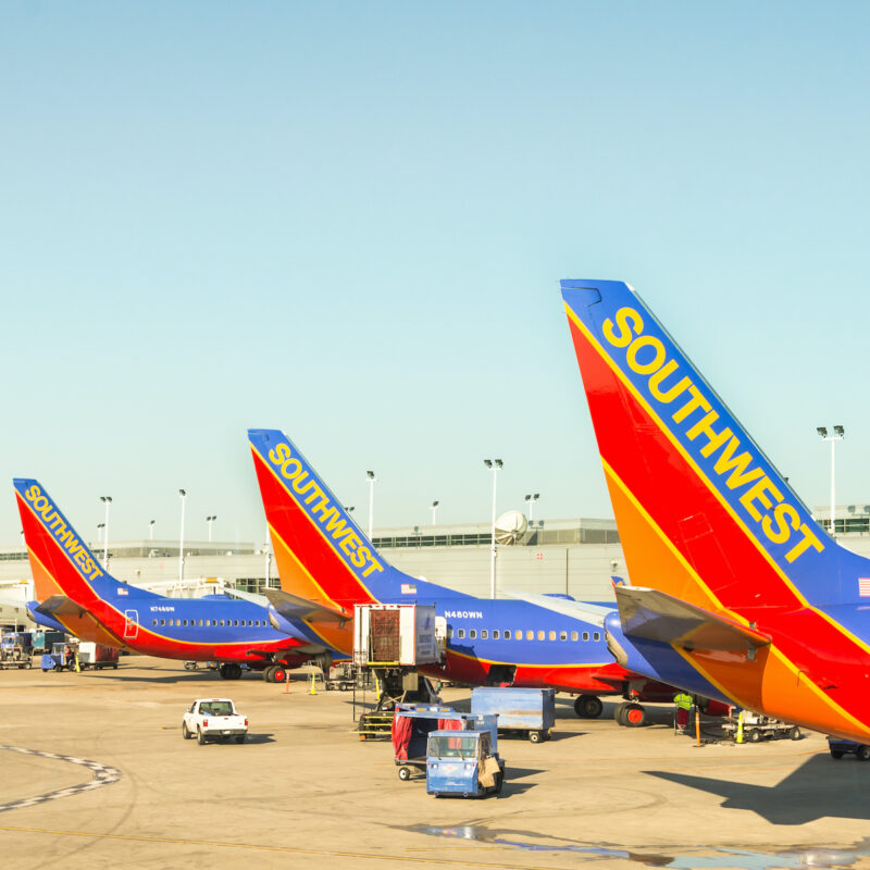 Southwest Airlines planes at Midway International Airport.