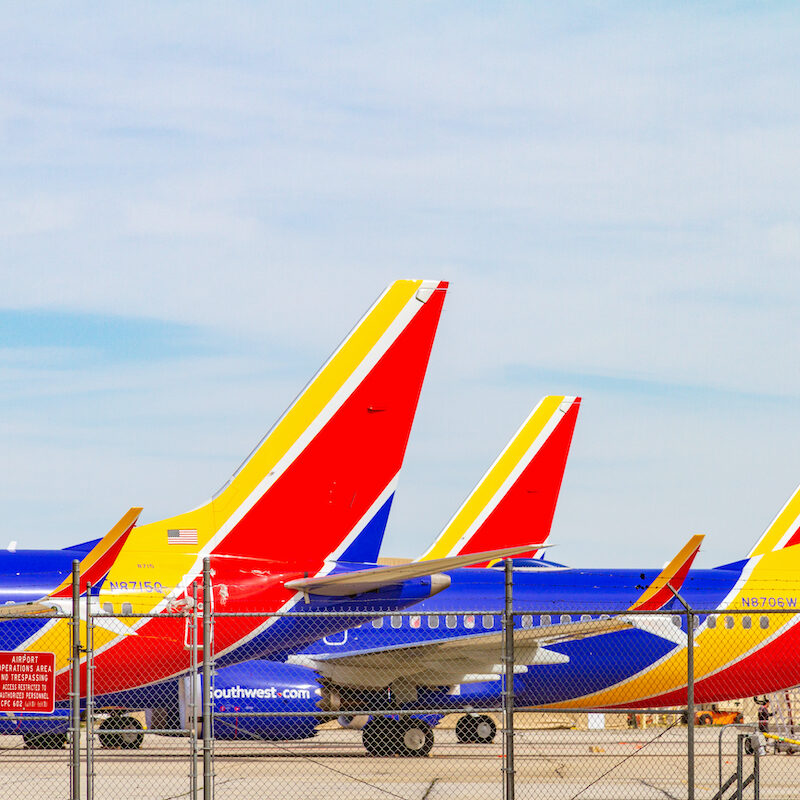 Southwest planes outside an airport.