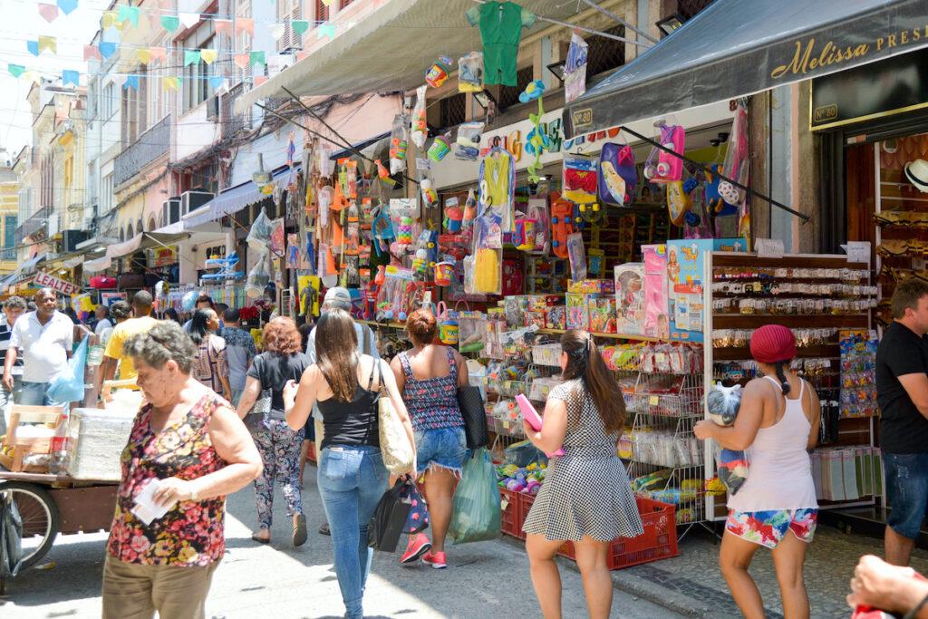 Souvenir shops near the beach in Rio de Janeiro, Brazil.