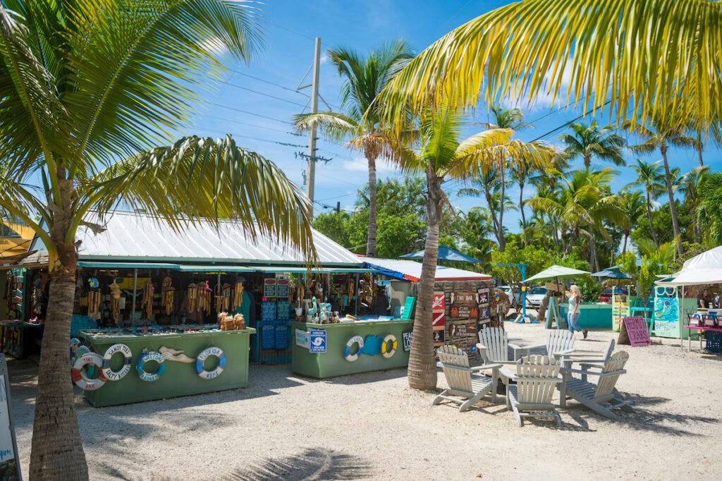 Souvenir shops on the beach in Islamorada, Florida.