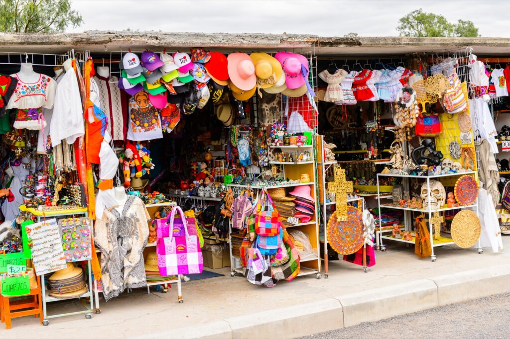 Souvenirs at a market in Mexico.