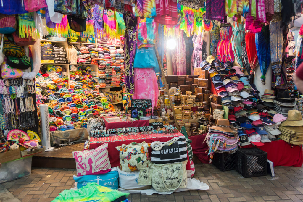 Souvenirs for sale at the Nassau Straw Market.
