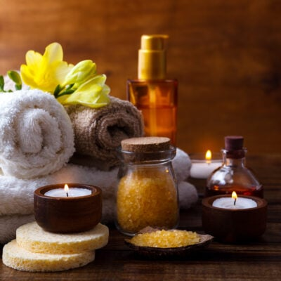 Spa items at a wellness retreat.