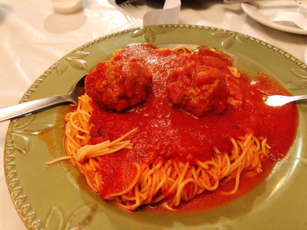 Spaghetti from Bruno's Italian Restaurant.