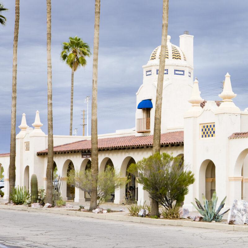Spanish architecture in downtown Ajo, Arizona.