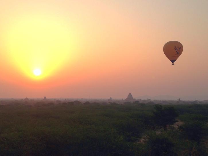 Spectacular views of Bagan's hot air balloons at sunrise