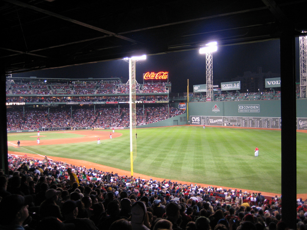 Spectators watching game at Fenway Park