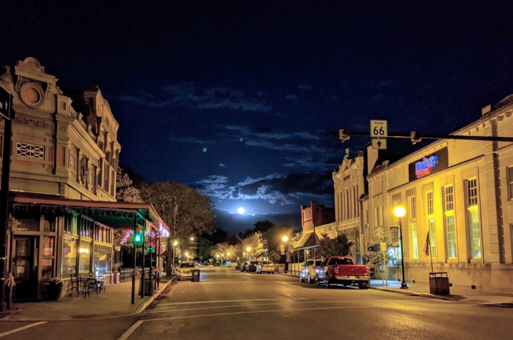 Spooky night with full moon in New Harmony, Indiana.