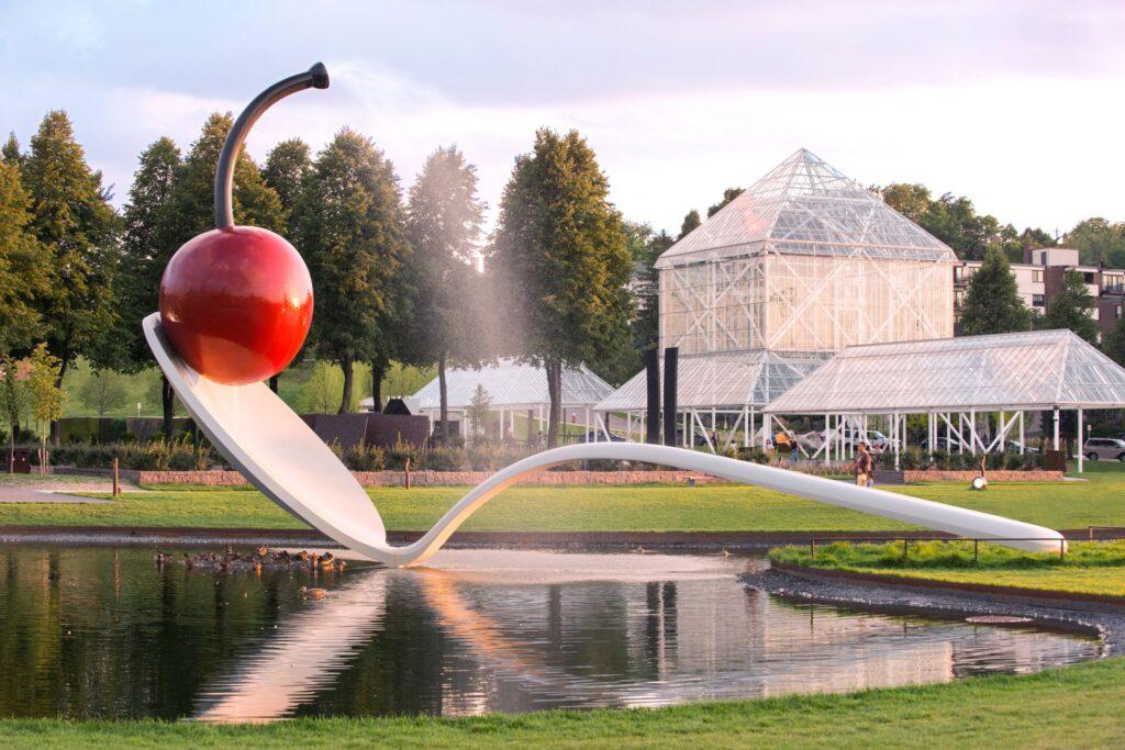Spoonbridge and Cherry sculpture at the Walker Art Center.