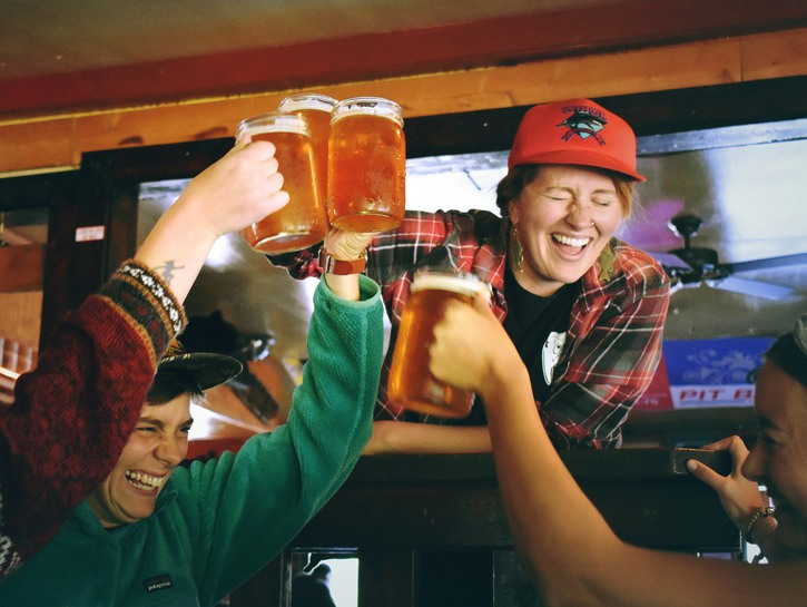 Sports fans clink beers