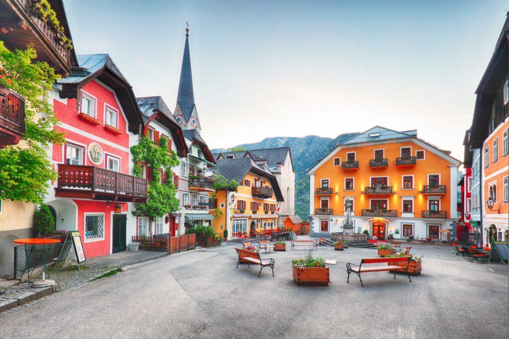 Square in downtown Hallstatt, Austria.