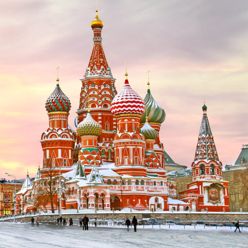 St. Basil's Cathedral in Moscow, Russia, during the winter.