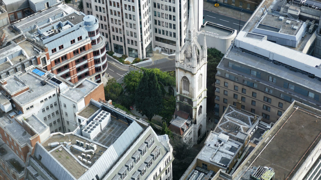 St. Dunstan In The East, a church in London.
