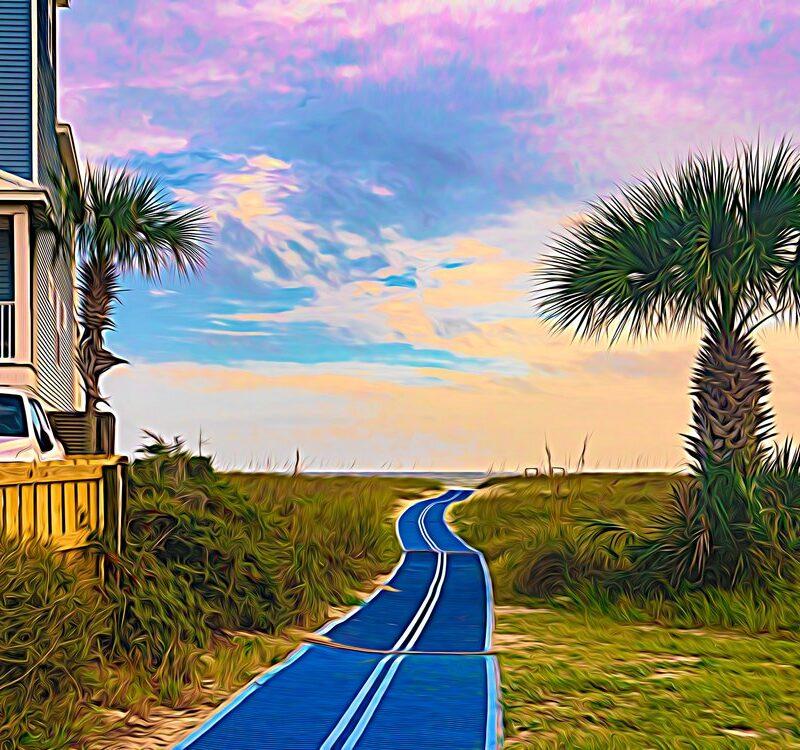 St. George Island on northern Florida gulf coast with home and palm tree