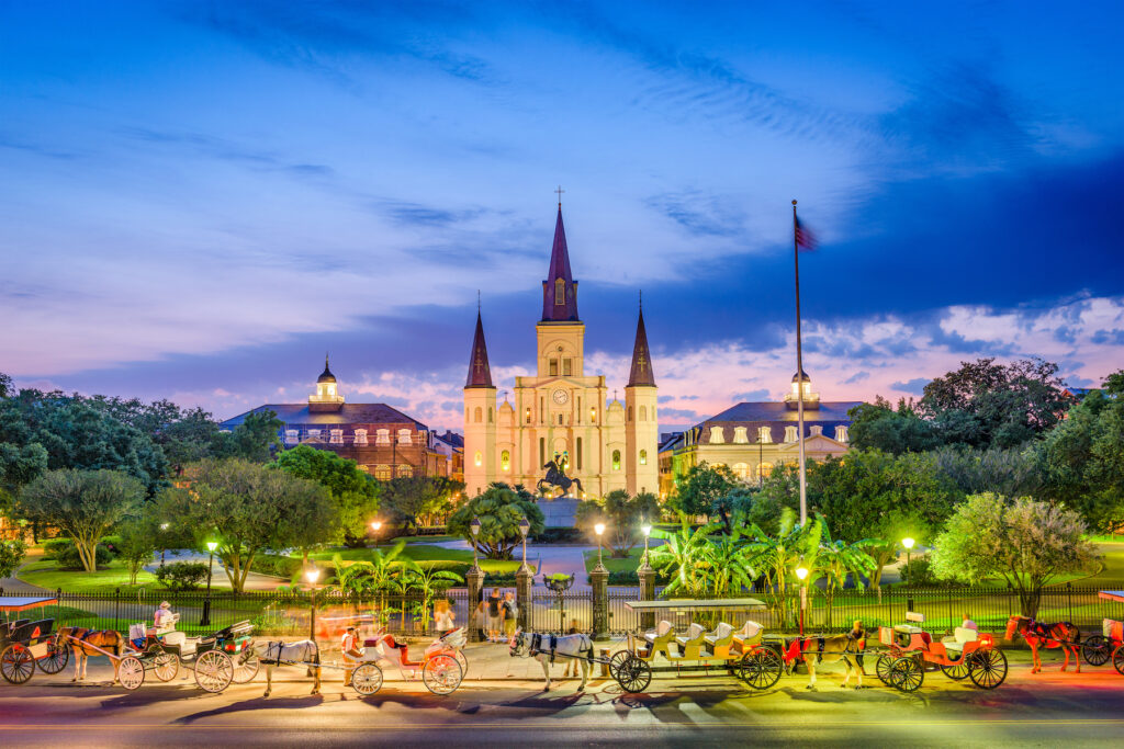 St. Louis Cathedral and Jackson Square in New Orleans.