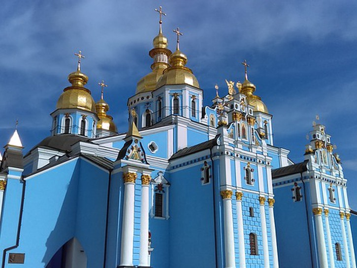 St. Michael's Monastery, Kiev. Blue cathedral with golden domes.