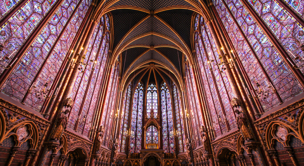 Stained glass windows at Sainte Chapelle in Paris.