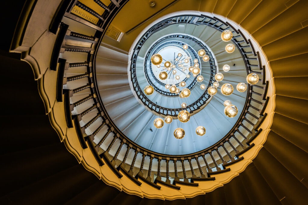 Staircase in Heal's Furniture Store in London.