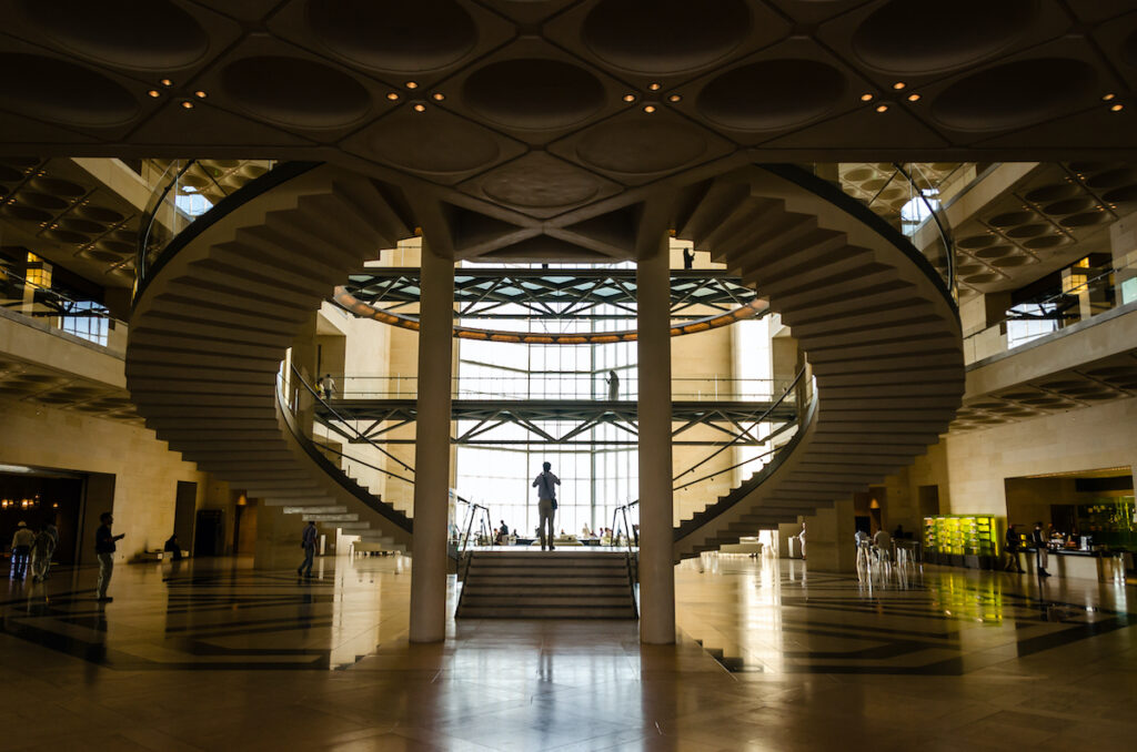 Staircase inside Museum of Islamic Art in Qatar.