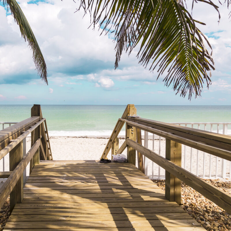 Stairs leading to the sea in Vero Beach, Florida.