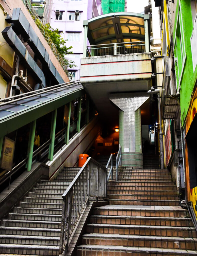 Stairs to public transport in Hong Kong.