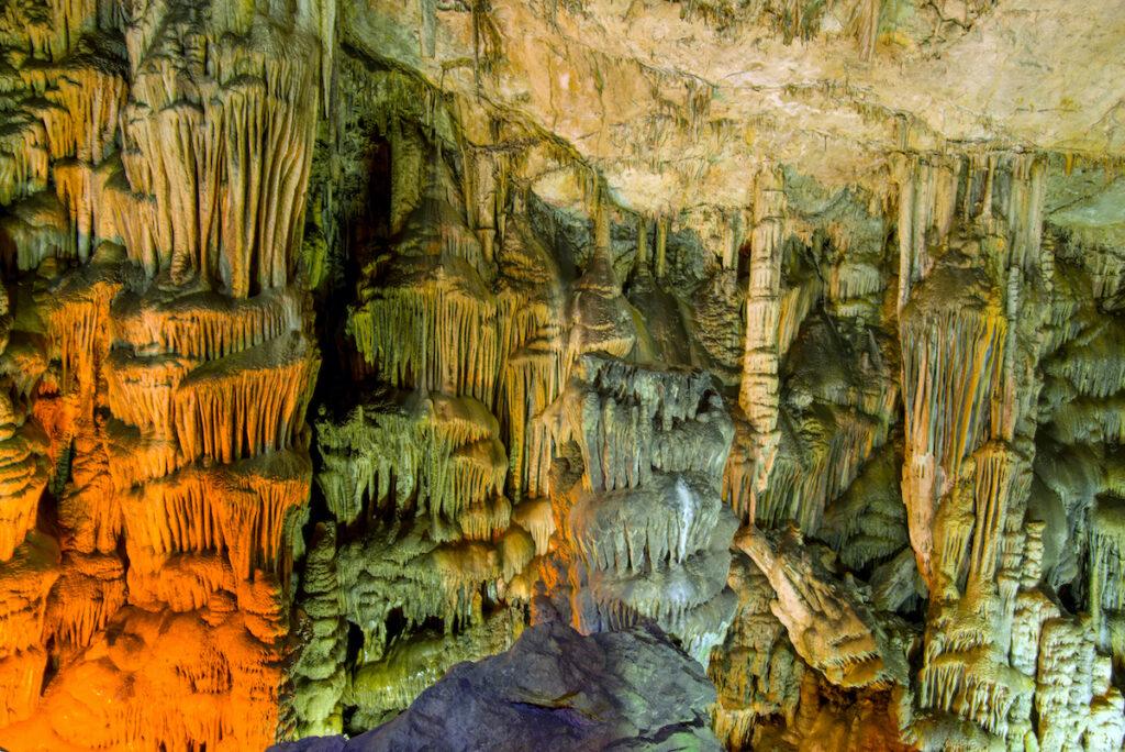 Stalagmites and stalactites at Diktean Cave.