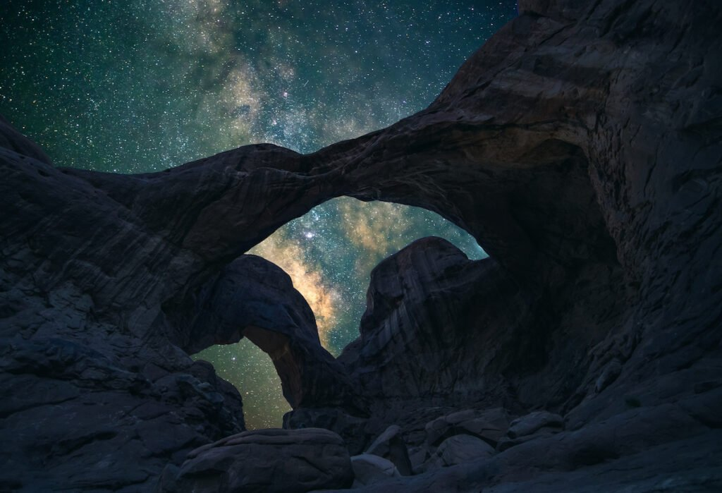 Stargazing in Arches National Park.
