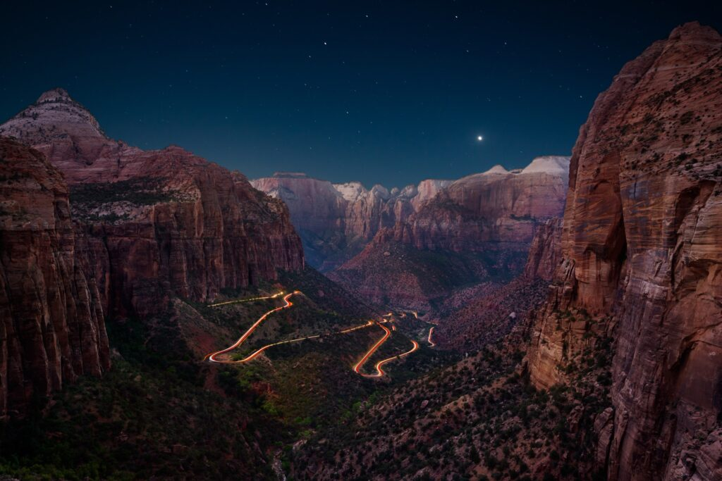 Starry night in Zion National Park.