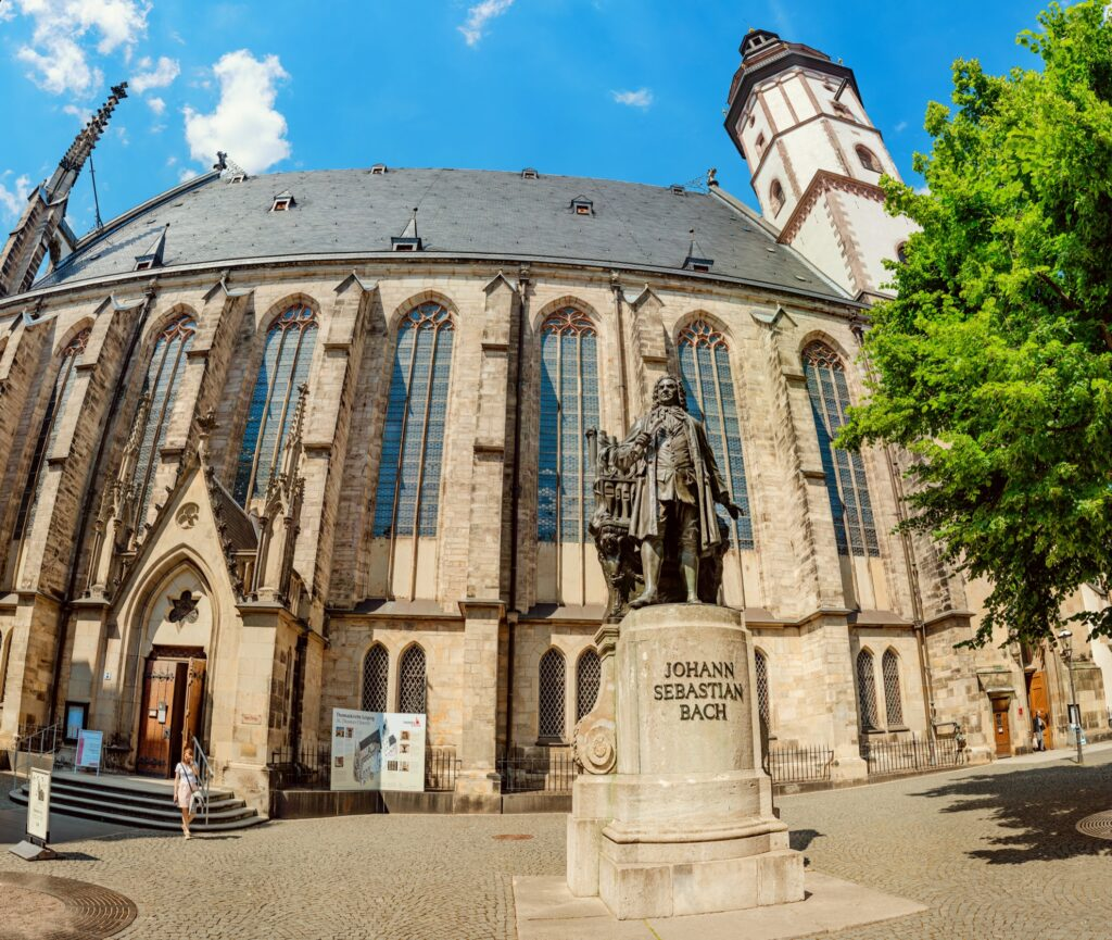 Statue of Bach outside St Thomas Church in Leipzig.