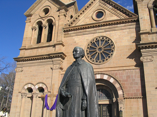 Statue of St. Francis outside his cathedral, Santa Fe, NM
