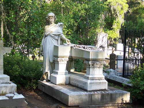 Statue of woman on top of grave, Bonaventure Cemetery Savanna Georgia
