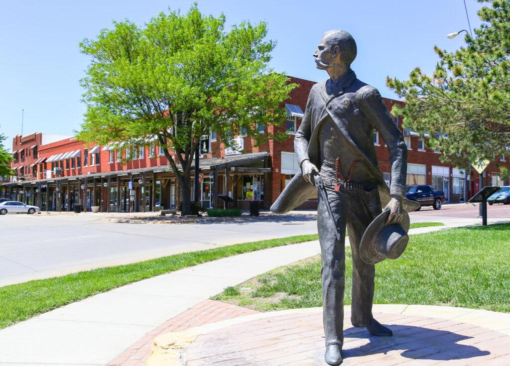 Statue of Wyatt Earp on the Dodge City Trail of Fame.