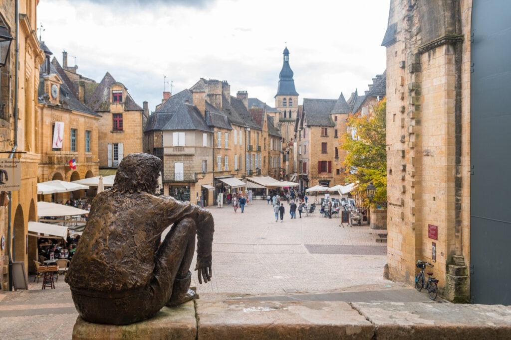 Statue overlooking Sarlat-La-Caneda, France.