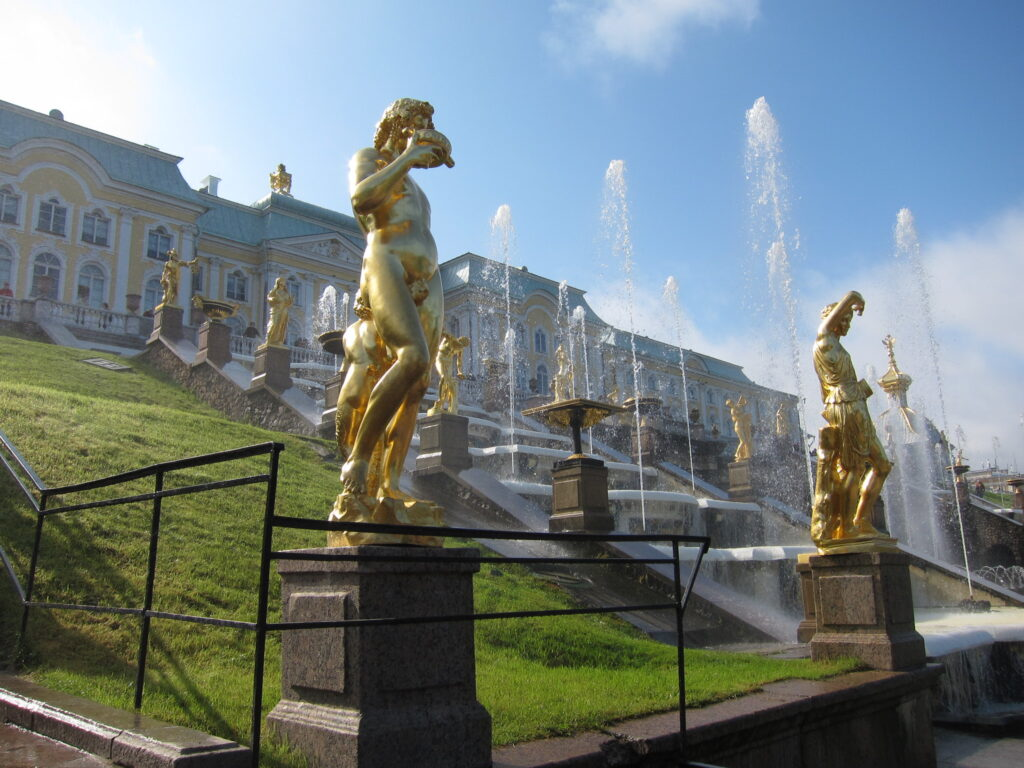 Statues and fountains at the Peterhof Palace.