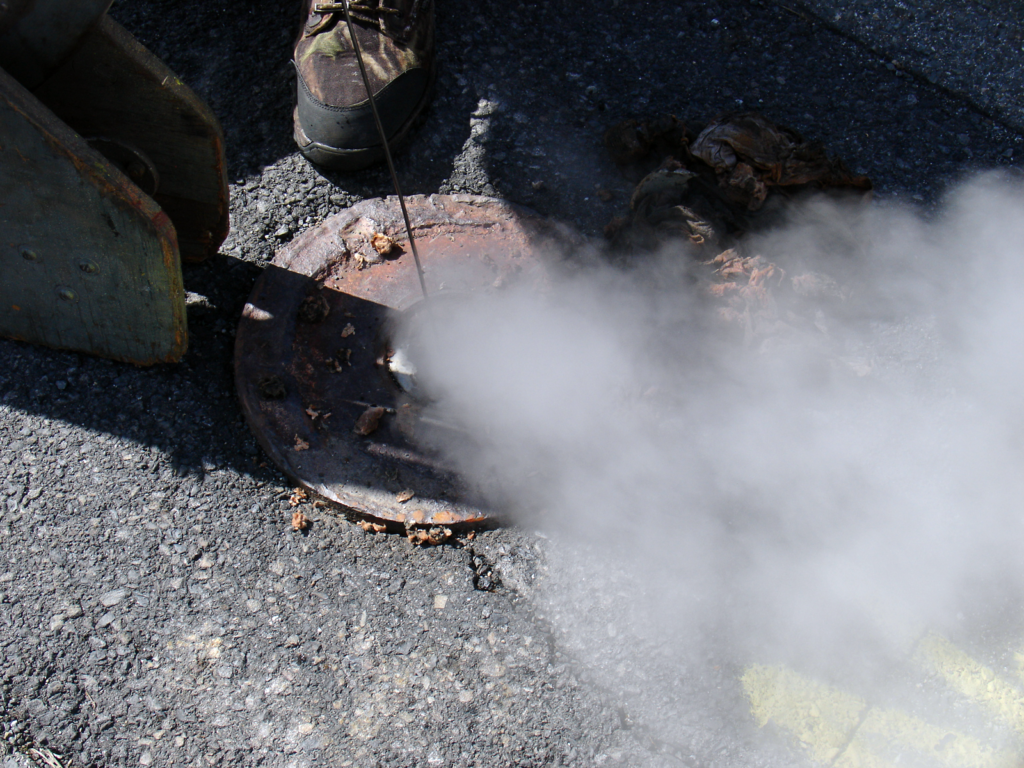 Steam rising from the road in Centralia, Pennsylvania.